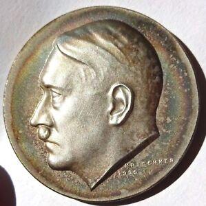 Germany Hitler 50th Birthday Medal Silver 1939 24.5g 36mm Artist Krischker C-117