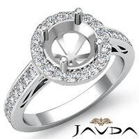 Diamond Engagement Halo Pave Set Filigree Ring 14k W Gold Round Semi Mount 1.3Ct