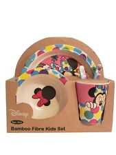 NEW BAMBOOWARE DISNEY DINNER SET MINNIE MOUSE BAMBOO FIBRE KIDS PLATE CUP FEED 5