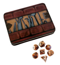 Thieves' Tools with Antique Brass Color with Black Numbers Metal Dice
