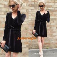 Zara Velvet Belt Flowing Dress SIZE S UK 8