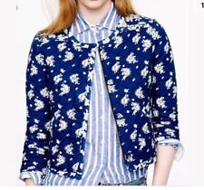 New J.CREW Indigo Floral Quilted Jacket Size 6