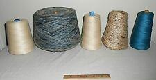 Lot Of 5 Vintage Carpet Warp Weaving Loom Rug Yarn Spools Tapestry Thread