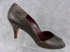 Evan Picone womens brown snake skin peep toe pump heels size US8.5M Spain