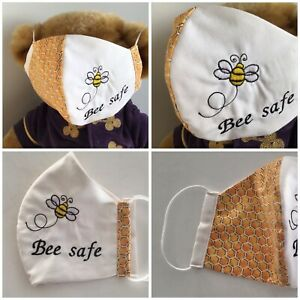 HANDMADE BUMBLE BEE EMBROIDERED  ADULTS WASHABLE & REUSABLE COTTON  FACE MASK