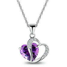 Womens 925 Silver Plated Necklace Chain Amethyst Crystal Heart Purple Pendant