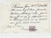 Rec. Frm Mr Deakin 1899 Sum Interest Due Frm Dodd Executors Stamp Receipt  36039