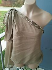 NWT ORNA FARHO Paris sz.46 beige blouse one sleeve silk with Swarovski elements