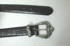 Hunt Club Black Leather Belt W/Big Silver Cherub Ornate Buckle Size Small