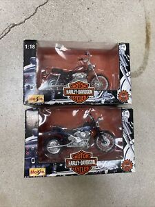 Maisto 1:18 Scale Harley Davidson Motorcycles Lot Of 2 NEW 1997