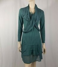 Sandwich Lagenlook Green Blue Long Sleeve Dress Size Medium