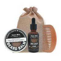 3Pcs/Set Beard Oil Comb Brush Mustache Grooming Set Hair Styling Care Tool Kit