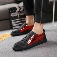 Mens skateboard Shoes Punk Spike Rivet Lace Up Board Low Top Casual Sneakers sz