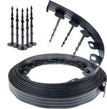 More details for 32 ft / 10m+60 pegs garden grass lawn edging wall flexible plastic border black