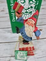 Vtg 1994 David Frykman Oh the Joy Santa Figure Chimney Present Carved Folk Art