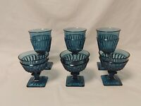 Lot of (6) Vintage Indiana Glass Mt Vernon Blue Stemware 3 Sherbet, 3 Water