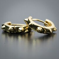 Men's 14k Yellow Gold Plated Vermeil Sterling Silver Spike Huggie Hoop Earrings