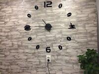 Wall Clock Large Decor Frameless Coffee Bean Kitchen Wall Watch Modern Clock New