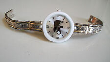 Women's designer style silver/gold finish Good Luck elephant fashion watch