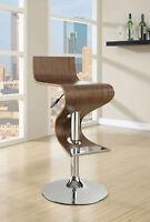 Coaster Modern Walnut With Chrome Base Adjustable Bar Stool Game Room Chair