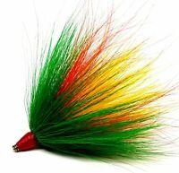 2 pack 5//0 Mustad Dressed Musky Pike Bucktail Teaser Treble Hooks Gr Or Blue