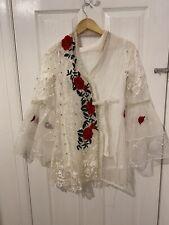 White Red Net Jacket Khamees Dress Suit Pakistani Size Small Medium Floral Kurta