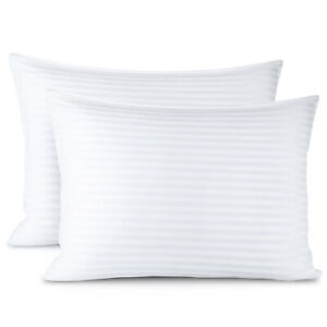 2 Pack Down Alternative Pillow 100% Cotton Cover Luxury Soft Plush Bed Pillow