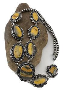 Gold Bumblebee Jasper Lariat Necklace Navajo Squash Pendant Sterling Silver01547
