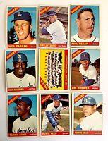 Lot of 9 1966 Topps CHAMPION LA DODGERS vintage baseball cards  Wes Parker