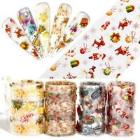 10 Rolls Holographic Christmas Classic Halloween Nail Foil Art Transfer Stickers
