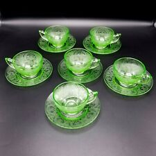 Vintage Indiana Horseshoe Green Cups & Saucers Lot of 6
