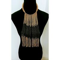 African  Long multicolored Waterfall handmade Beaded Necklace Gold black