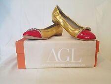 NEW AGL Attilio Giusti Leombruni Gold & Red Ballet Flats: SZ 37