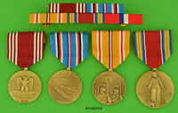 4 WWII Army Medals & Ribbon Bar Service in the Pacific - Philippines WW2