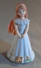 Vintage Enesco Growing Up Birthday Girls Figurine Brunette Age 10 1982 w/Tag