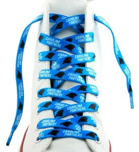 """Carolina Panthers Shoe Laces Strings NFL Team Colors 54"""" One Pair Lace Ups"""