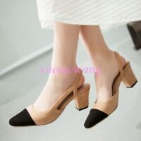 Womens Pointed Toe Slingback Shoes Mid Block Heel PU Leather Match Color Sandals
