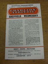 08/11/1958 Charlton Athletic V Sheffield Wednesday (piegato, SQUADRA modifiche & scor