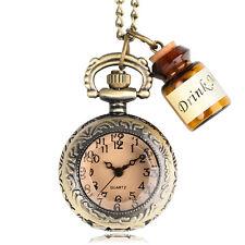 Bronze Mini Drink Me Bottle Dark Brown Glass Quartz Pocket Watch Necklace Gift