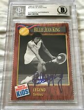 Billie Jean King signed auto autographed 1990 SI for Kids SIK card BAS slabbed