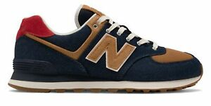 New Balance Men's 574 Shoes Navy with Red