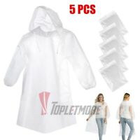 5x Disposable Adult Emergency Waterproof Rain Coat Poncho Camping Hiking w/ Hood