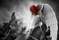 Framed Print - Gothic Angel With Red Hair and White Wings (Picture Goth Art)