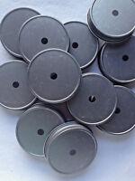 12 Mason Jar Lids w/ Straw Holes.  Antique Pewter For Regular Mouth Mason Jars