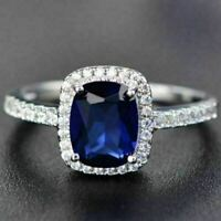 3 Ct Cushion Cut Blue Sapphire Moissanite Halo Ring Engagement Wedding Jewelry