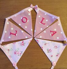 PERSONALISED Girls Clarke & Clarke Pink Rosebud Dotty Spot Floral Bunting Flags
