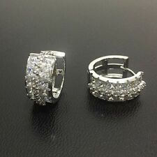 Luxury Princess Round White Cubic Zirconia Hoop Silver Earrings Mother's Gift