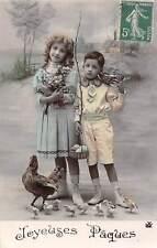 Easter Joyeuses Paques Children chicken, eggs boy girl children 1912