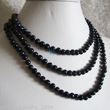 """Necklace Strand Off Round Uj 49"""" 5-6mm Navy Freshwater Pearl"""