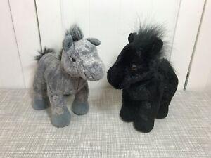 "Ganz Webkinz Horse Plush Lot 8"" Long HM145 Black Stallion & HM098 Grey Arabian"